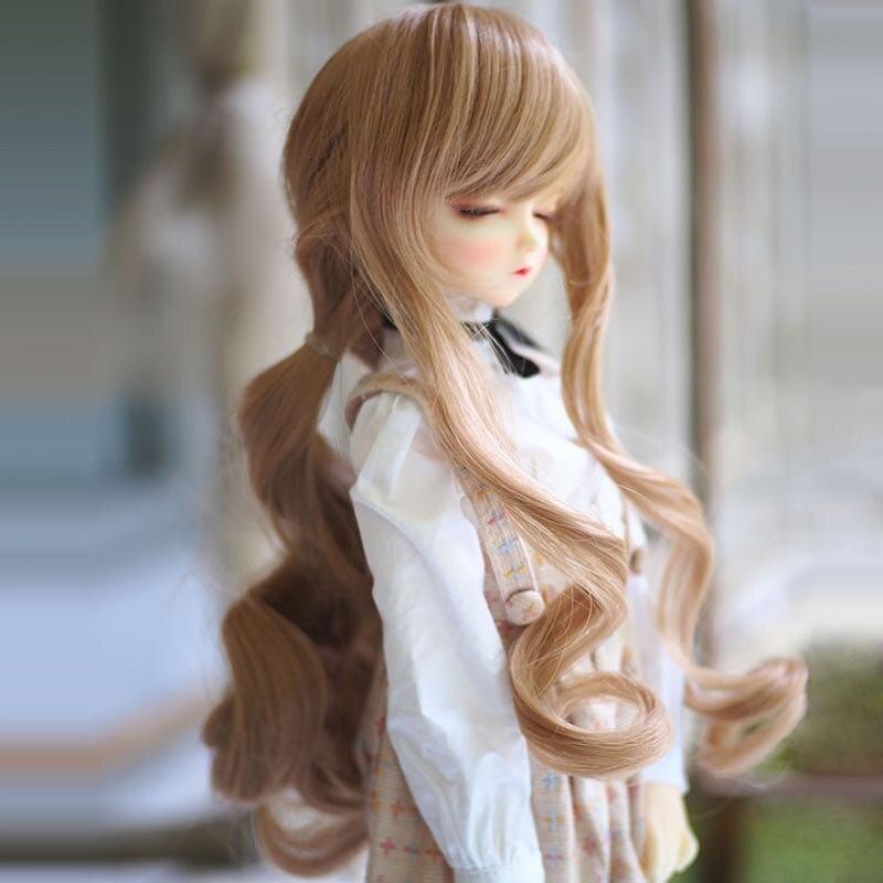 Envío Gratis 1/3 1/4 1/6 nuevo estilo de Peluca de muñeca BJD SD de alta temperatura de alambre largo encantador ondulado BJD súper Peluca de pelo