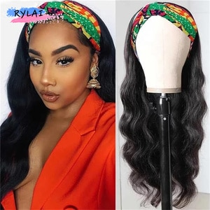 Jacinta Body Wave Headband Wig Daily Use Synthetic Heat Resistant Long Hair 30'' Machine Made For Sexy Lady Ins Trends Fashion