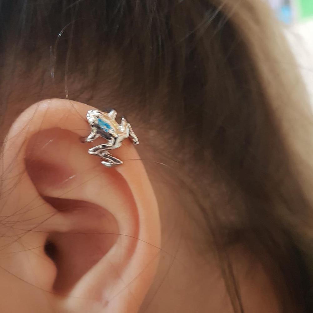 Μόδα βατράχου μανικετόκουμπα ασημένια σκουλαρίκια σκουλαρίκια για γυναικεία αυτιά μανσέτα χωρίς τρυπήματα ψεύτικα σκουλαρίκια χόνδρου