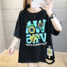 Katoen Persoonlijkheid Ragged Gedrukt Patch Mid-Lengte Korte Mouwen Meisjes T-shirt Cut Gat Vrouwen 2020 Zomer Koreaanse Top vrouwen