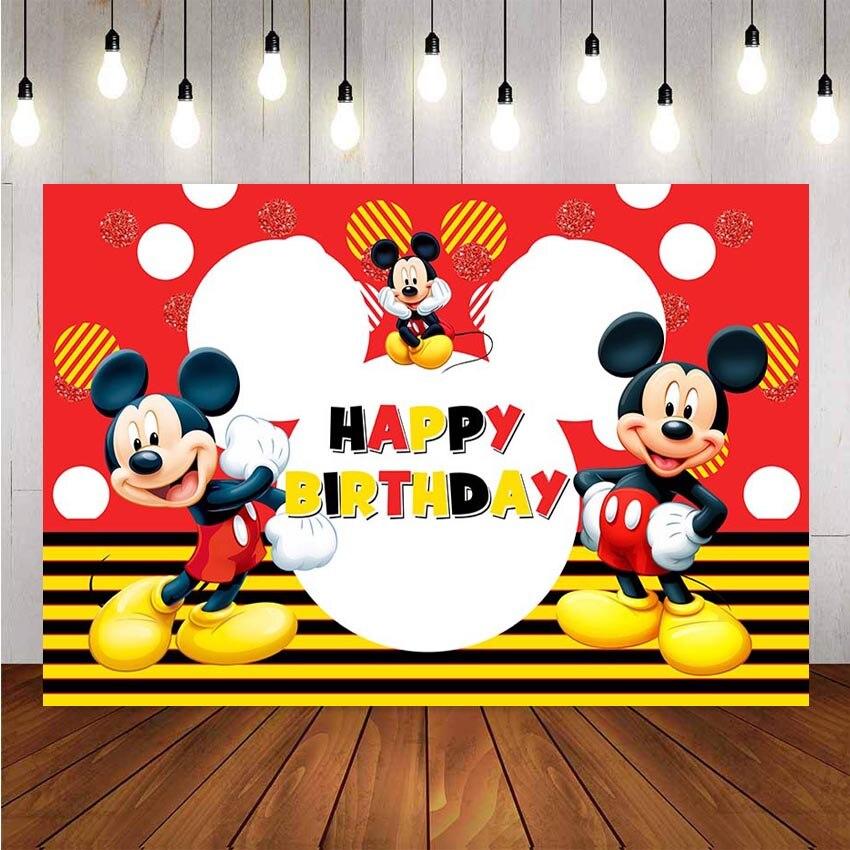 NeoBack фон для фотосъемки с изображением Микки Мауса на заказ для детской вечеринки на день рождения фон для фотостудии баннер