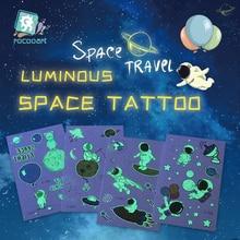 Rocooart aydınlık hava uzay dövme çıkartmalar karikatür uzay gezegen Spaceman sahte dövme çocuklar için parlayan su geçirmez Temporarie Taty
