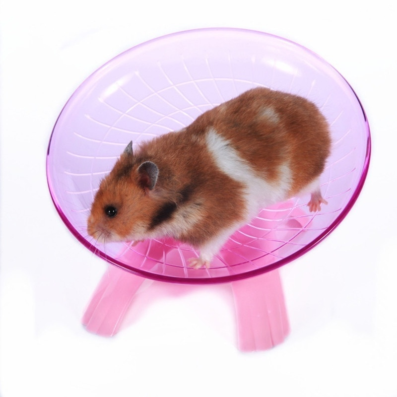 Pet Hamster Flying Saucer Exercise Wheel Mouse Running Disc Toy Cage Accessories
