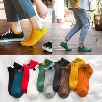 1 pair women simple solid cotton casual striped short socks for ladies breathable comfortable soft trendy japanese korea sox