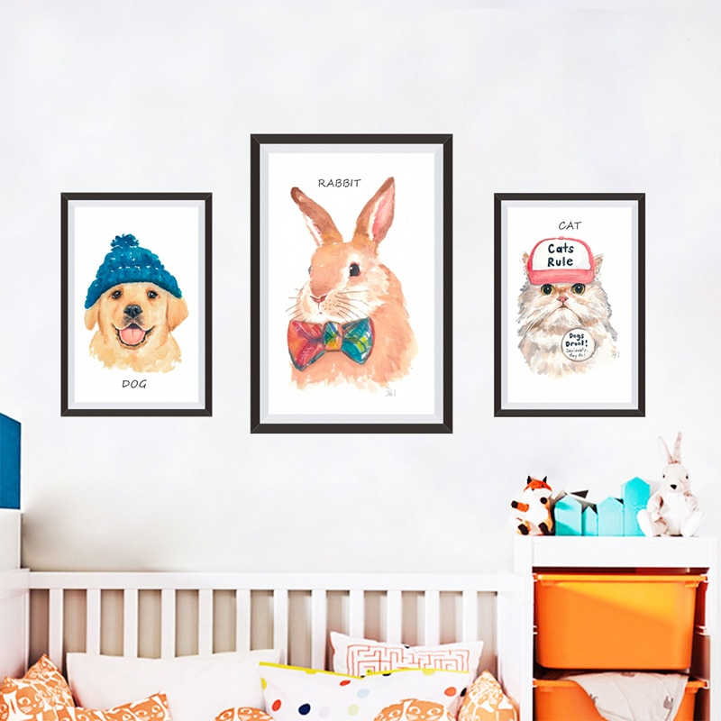 Cat Dog Rabbit Photo Frame view Wall Stickers For Home Decor Living Room Bedroom Accessories PVC Mural Wall Art Decals