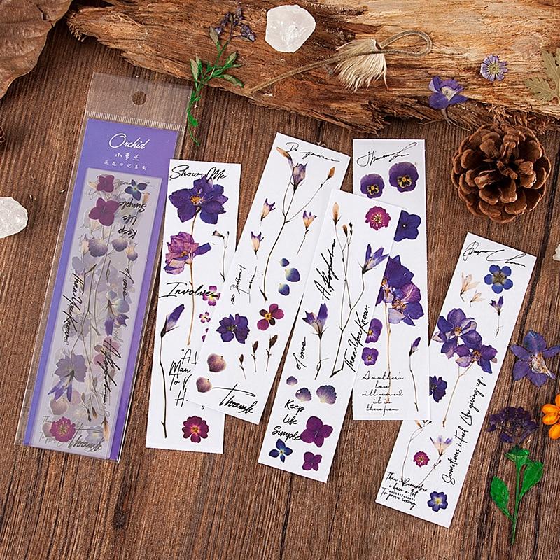 Plant Flower Iris Daisy Euphorbia Deco Diary Stickers Scrapbooking Planner Decorative Stationery PET Stickers Kit
