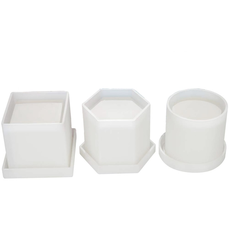 2021 NEW Diy Planter Pot Mold Hexagon Cubic And Cylinder Resin Mold 3 Pack Coaster Silicone Mold Round Square Hexagon Square