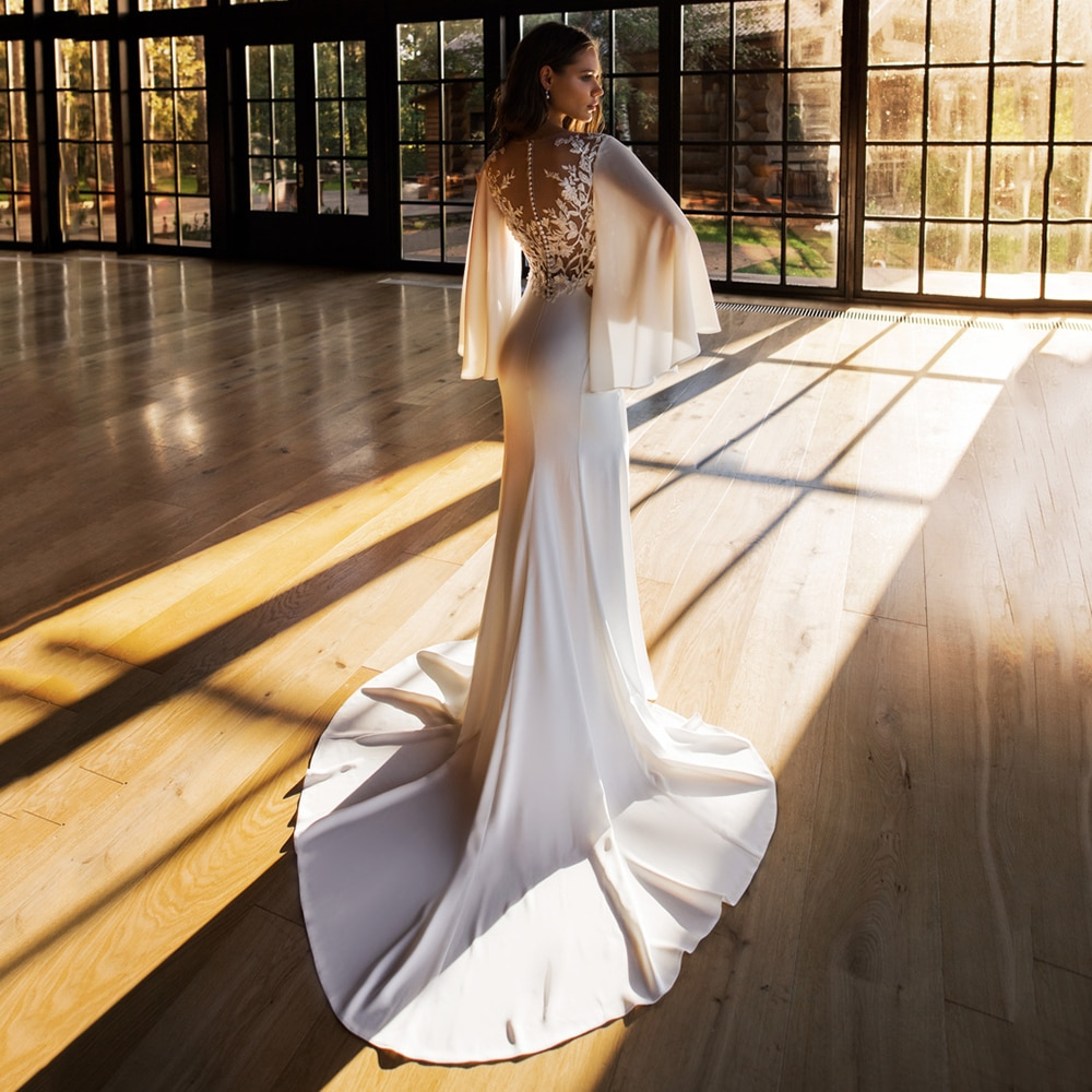 Chiffon Mermaid Wedding Dresses Scoop Neck Batwing Sleeves Ivory White Bridal Gowns Lace Appliques Zipper Buttons Robe De Mariee