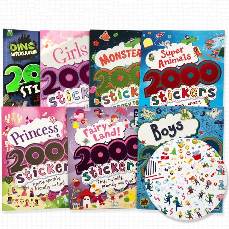 2000 adesivos de parede Inglês livro de atividades para crianças/animais/princesa/fazenda/Alien/Dia Das Bruxas adesivos para meninos e meninas presentes brinquedo