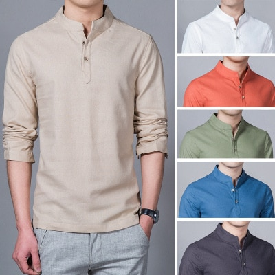Camisa de manga larga de verano para hombre, polos de Color puro, camisetas de moda, camisa de lino transpirable, camisa de talla grande 5XL, cuello en V, blusa, Jersey