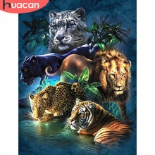 Huacan 5dダイヤモンド塗装虎diyダイヤモンドモザイクフル平方装飾ホームヒョウライオンダイヤモンド刺繍動物
