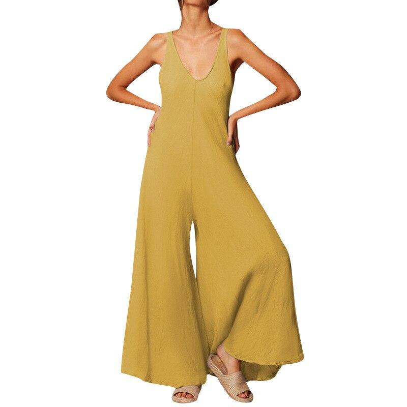 Для женщин Длинные Комбинезоны сексуальный глубокий v-образный вырез широкие брюки длинные брюки палаццо Pantalon Ретро офисные комбинезоны дл...