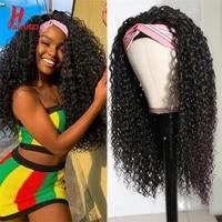headband kinky curly wigs brazilian natural glueless human hair wigs for women remy machine made easy to wear wig 180 hairugo