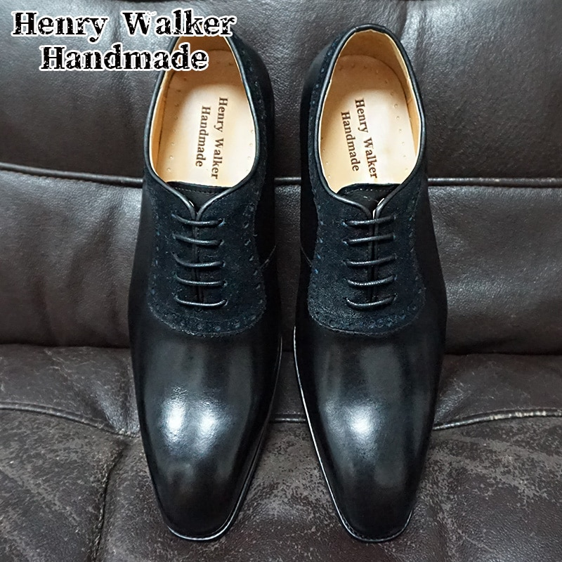 Luxury Men Oxford Shoes Lace up Pointed Toe Brown Black Genuine Leather Mens Dress Shoes Office Suede Patchwork Formal Shoes Men
