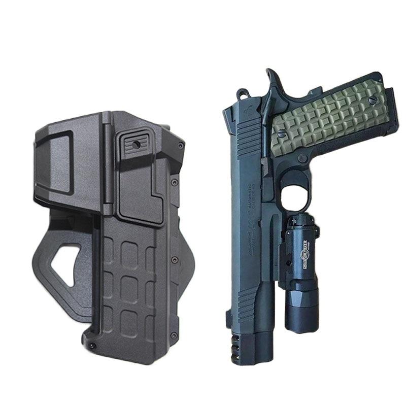 حافظة مسدس تكتيكية عسكرية لـ Colt 1911 ، حافظة مسدس Airsoft مع مصباح يدوي ليزر ، حقيبة خارجية ، ملحقات الصيد