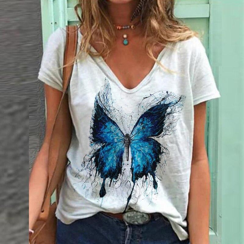 Mulher do vintage tshirts plus size camisa de manga curta feminina borboleta impressa com decote em v camisetas camisetas gráficas mais
