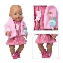 Hot Sale Baby New Born Fit 18 inch Doll Clothes Accessories Red Shawl One-piece Dress For Baby Birth
