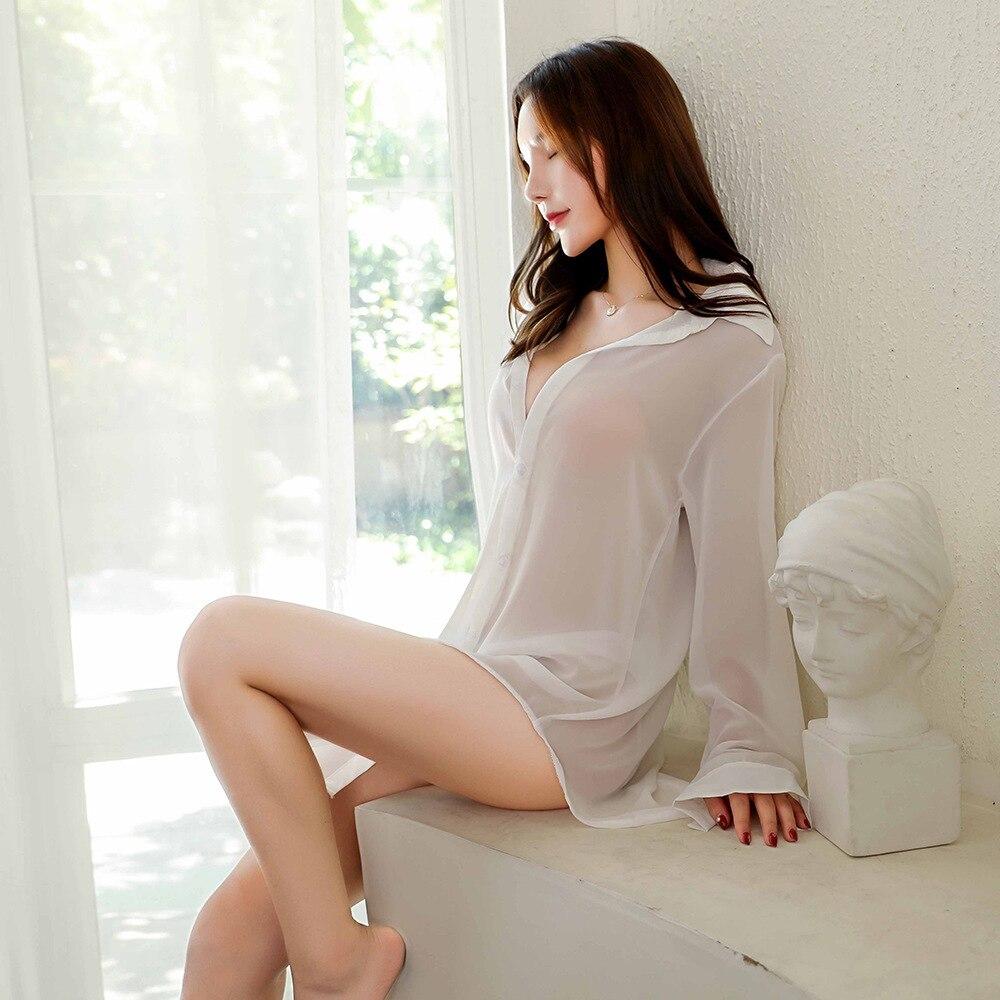 Ropa interior Sexy erótica de tul para adultos, Camisa de gasa negra transparente blanca, pijama sexy de mujer, ropa de secretarial OL, tentación