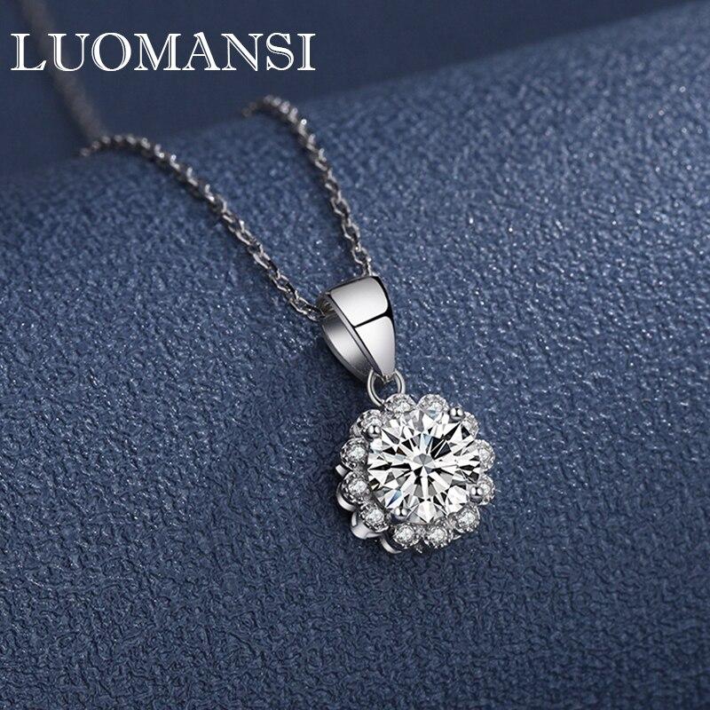 Luomansi 1CT 6.5 مللي متر سوبر فلاش مويسانيتي قلادة فضية GRA شهادة S925 المرأة غرامة مجوهرات الزفاف هدية حفلة