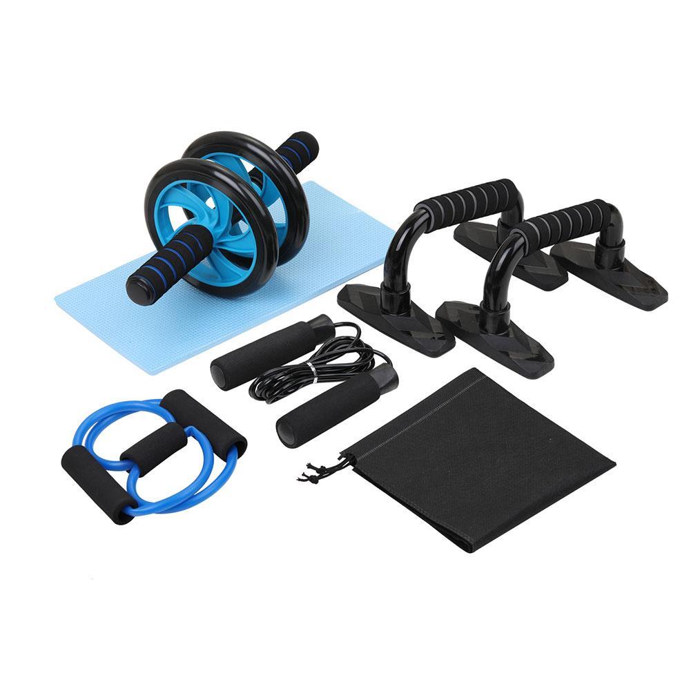 5-em-1 kit de rolo da roda do instrutor do músculo rolo abdominal da roda ab com barra push-up saltar corda joelho almofada ginásio equipamentos de fitness em casa