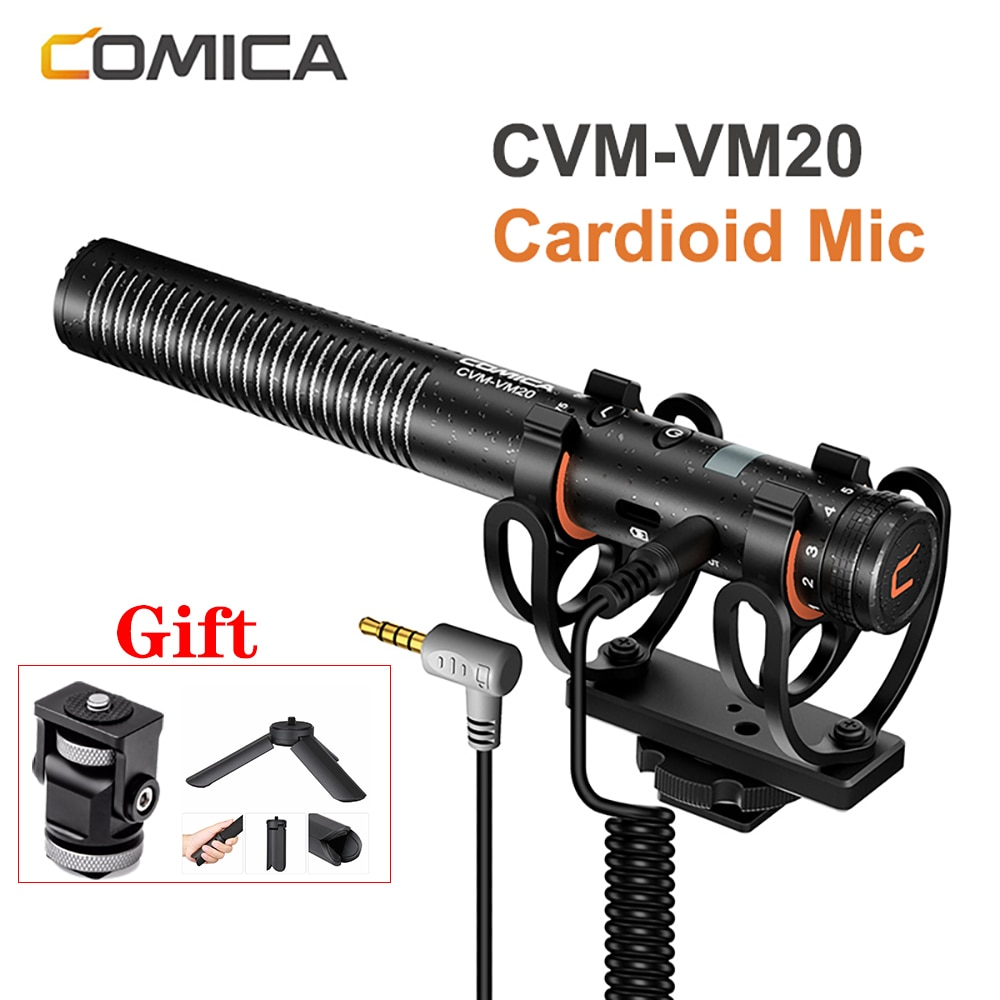 COMICA CVM-VM20 ميكروفون 3.5 مللي متر سوبر مكثف القلب فيديو مقابلة Mic للهواتف الذكية DSLR كاميرا