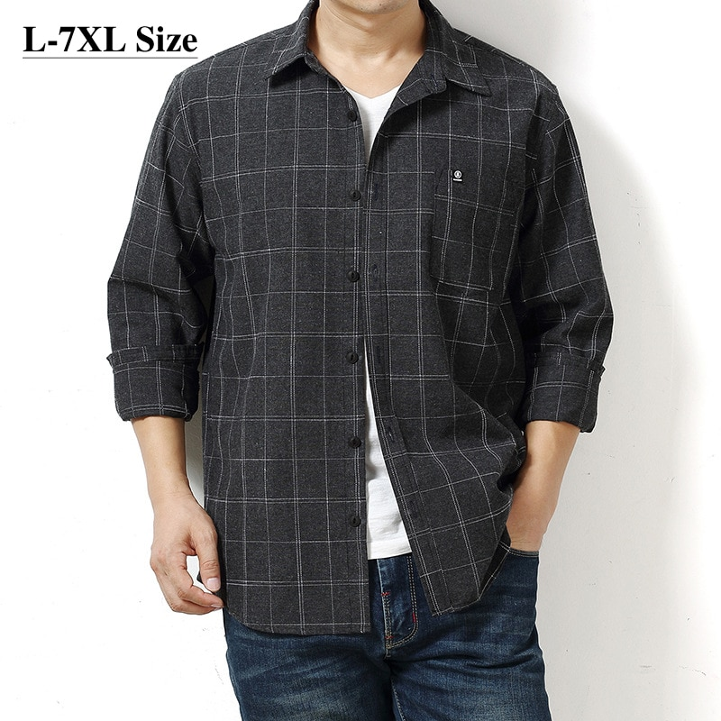 Camisa Oxford de manga larga a cuadros de marca para hombres, nueva moda de otoño 2020, camisas informales de trabajo de negocios clásicas sueltas de talla grande 6XL 7XL