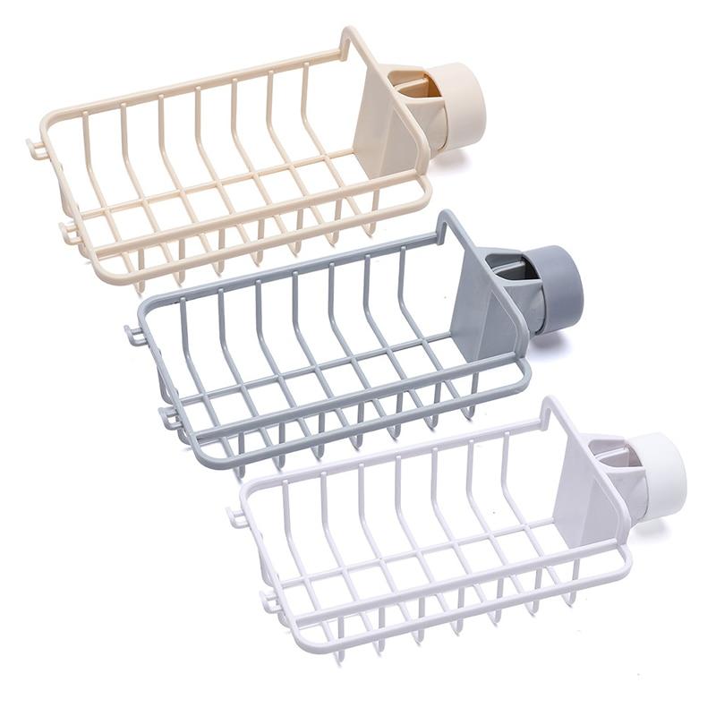 Estante de almacenamiento para fregadero... escurridor con gancho para almacenamiento en casa...