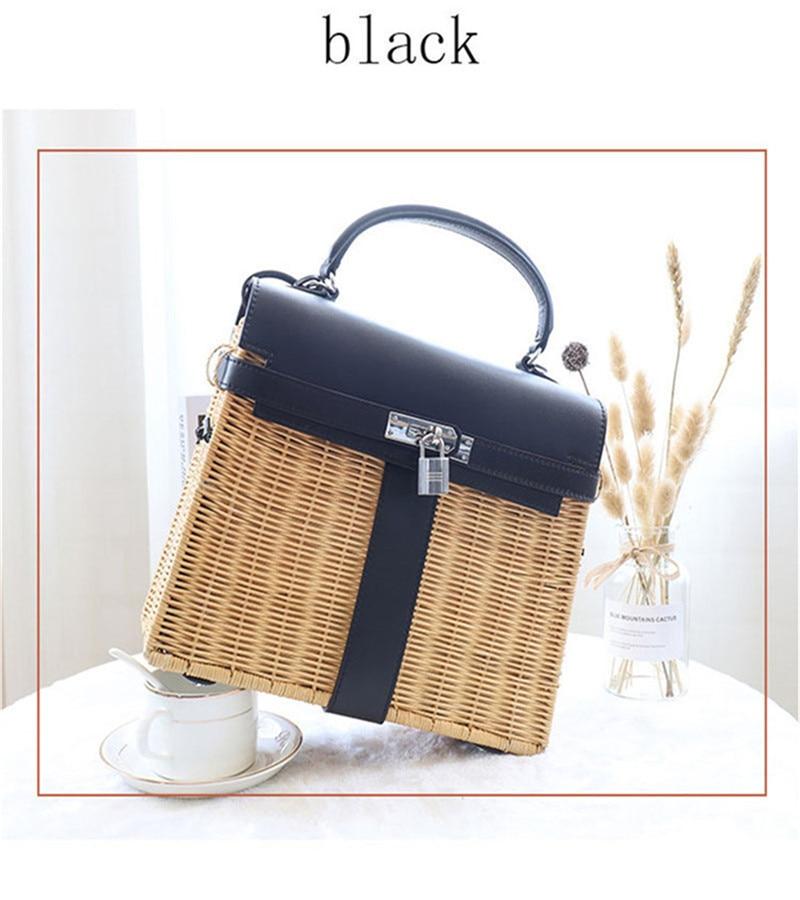 2021Ladies straw bag luxury handbag rattan messenger bag ladies beach bag original brand designer