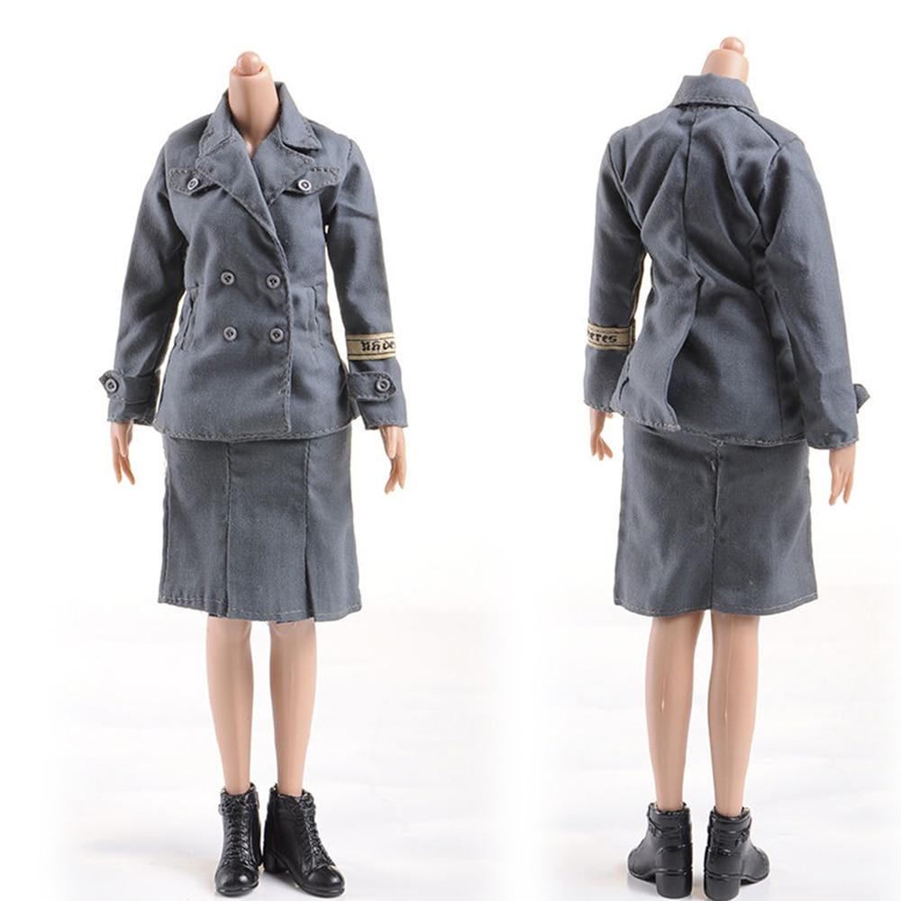 "1/6 Scale DML WWII Female Soldiers Blue Uniform Suit Short Skirt Clothing Set  Woman Clothes for 12"" Action Figure Body"