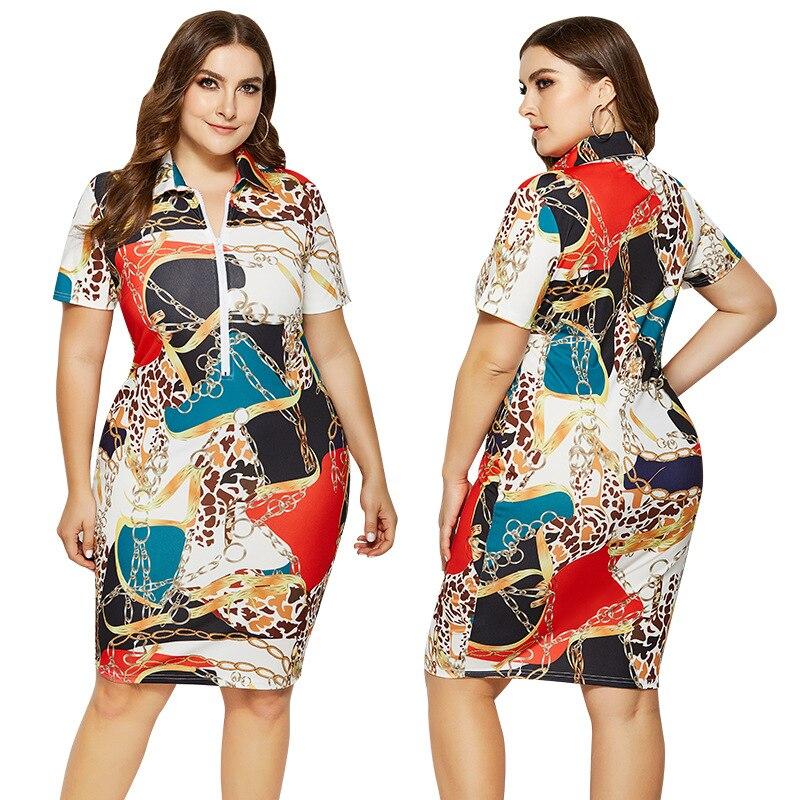 2019 nuevo vestido de verano para mujer Vestidos estampados Casual recto 5XL longitud de la rodilla de talla grande Polo Vestidos de oficina