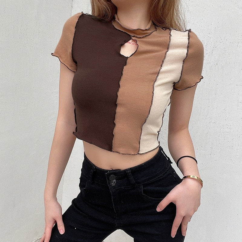 hollow out crochet insert frill top Frill Hollow Women T-shirts Out Cropped Long Sleeve Tshirt Autumn Fashion Ladies Basic Patchwork Top Tees Streetwear Clothes
