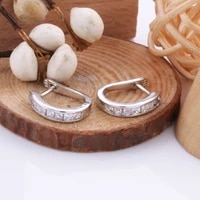 simple romantic lovely clear gemstone silver cilp earrings for women 925 sterling silver temperament wedding jewelry for bride