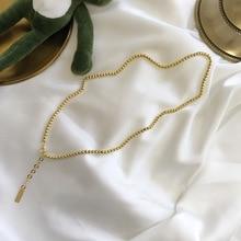 Simple femmes authentique 925 argent Sterling rond chanceux or haricots chaîne collier pendentif all-match fine bijoux TLX626