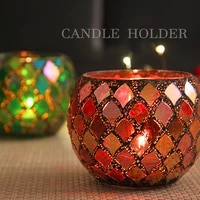 nordic color mosaic glass candle holder romantic candlelight dinner diy fragrant candle cup mini succulent flower pot pen holder