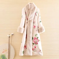 autumn and winter women parka outerwear retro embroidery peony elegant loose lady warm luxurious trench coat female m 2xl