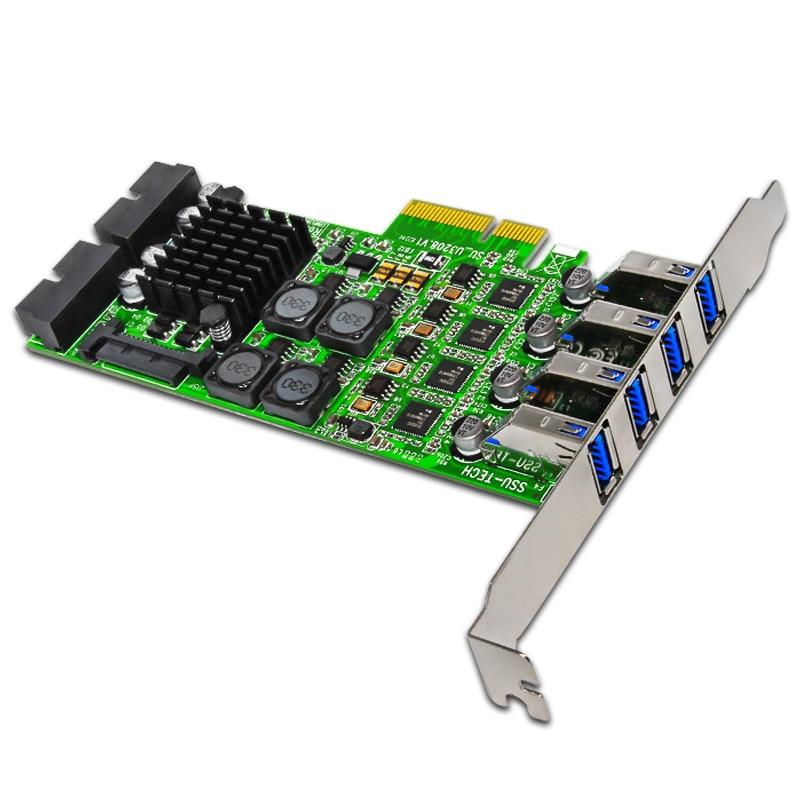 وحدة تحكم PCI Express PCI-E إلى USB 3.0 بطاقة التوسع مع 8 منافذ USB 3.0 وحدة تحكم SATA الطاقة المستقلة 4 قنوات للكاميرا