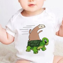 Funny Sloth Tortoise Printed 2021 New Style Baby Clothes Cute Cartoon Animal Children's clothing Sum