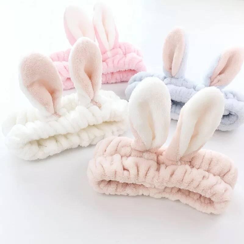 Лидер продаж 2020, Женский ободок с кроличьими ушами, мягкая моющаяся лента для волос для девушек, для нанесения макияжа, тюрбан, вечерние рези...