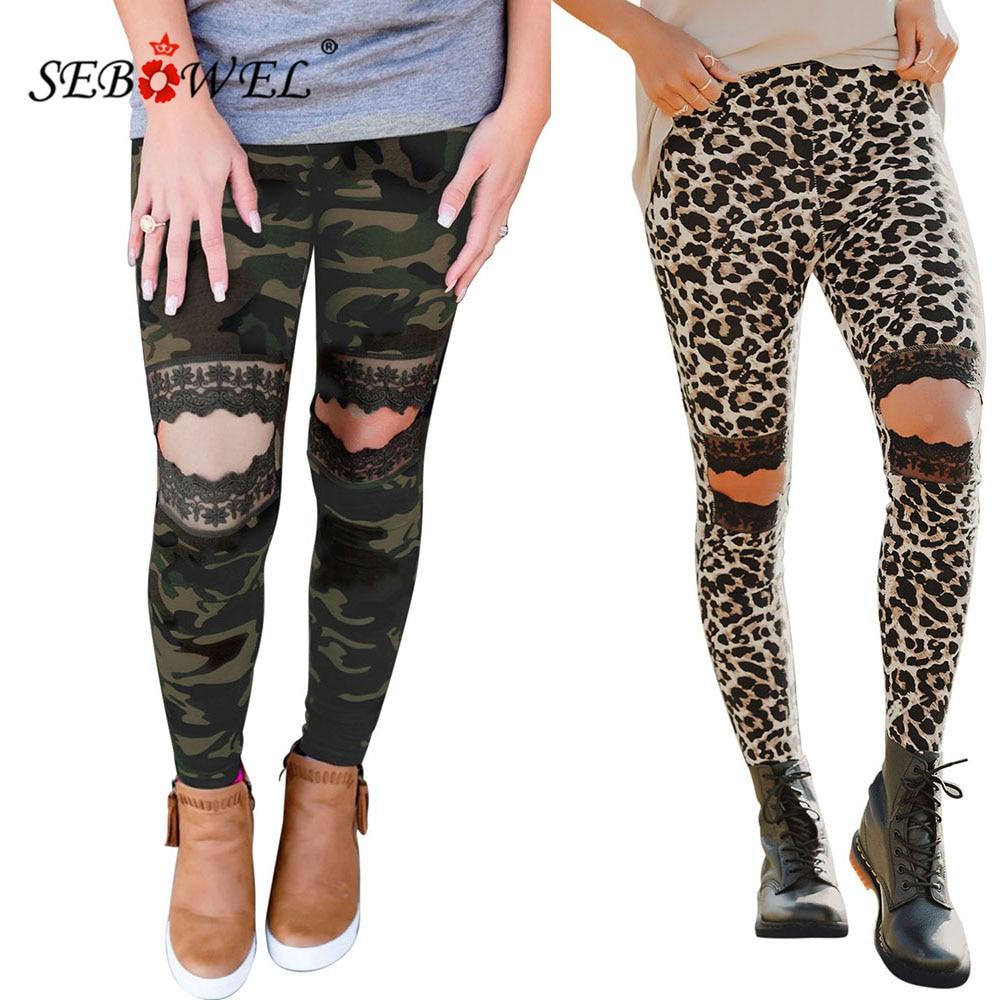 SEBOWEL Casual Women's Leggings Hollow Out Knee Leopard/Camo Print High waist Skinny Leggings for Fitness Female Joggers S-XXL tape side camo print leggings
