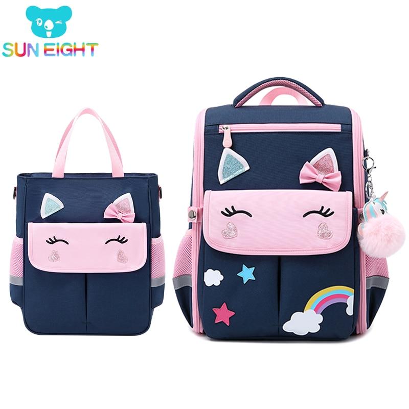 SUN EIGHT 3D Girl School Bags Cute Cartoon Children Backpacks Waterproof Bag For Kids Orthopedic Back Primary School