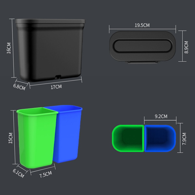 1.7L Car Trash Can Car Storage Box Car Accessories Car Storage Trash Can Safe And Convenient Garbage