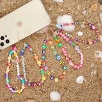 go2boho chain for mobile phone greek evil eye string strap phone wrist polymer clay lanyard heishi beads cell phone chain jewel