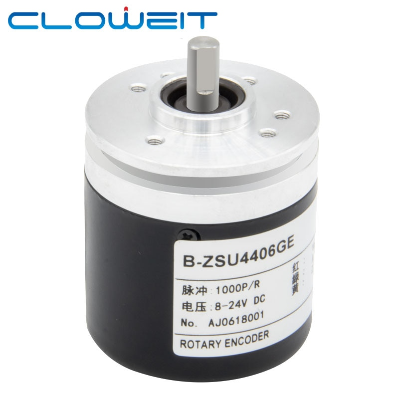 Cloweit 44 مللي متر IP67 تزايدي التشفير 6 مللي متر رمح دوار التبديل AB 2 مراحل 10-1024-2500-3600 360 400 500 PPR 5-24VDC