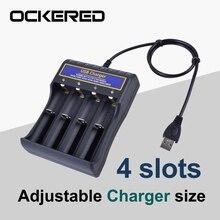 Cargador de batería de 4 ranuras 18650 para batería de litio recargable, Cargador Universal inteligente ajustable, tamaño 16340 14500 26650