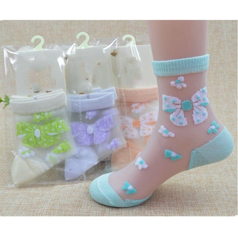 1/4 par/lote de verano chicas preciosa de cristal de mariposa calcetines de seda niños bebé chica Floral de malla de encaje elástico flores Calcetines
