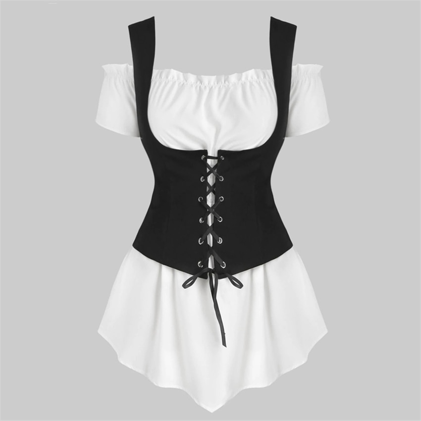 Stage Viking Pirate Cosplay Costumes Dress Medieval Steampunk Womens 2 Piece Set Shoulder T-shirt Bandage Vest Plus Size Uniform