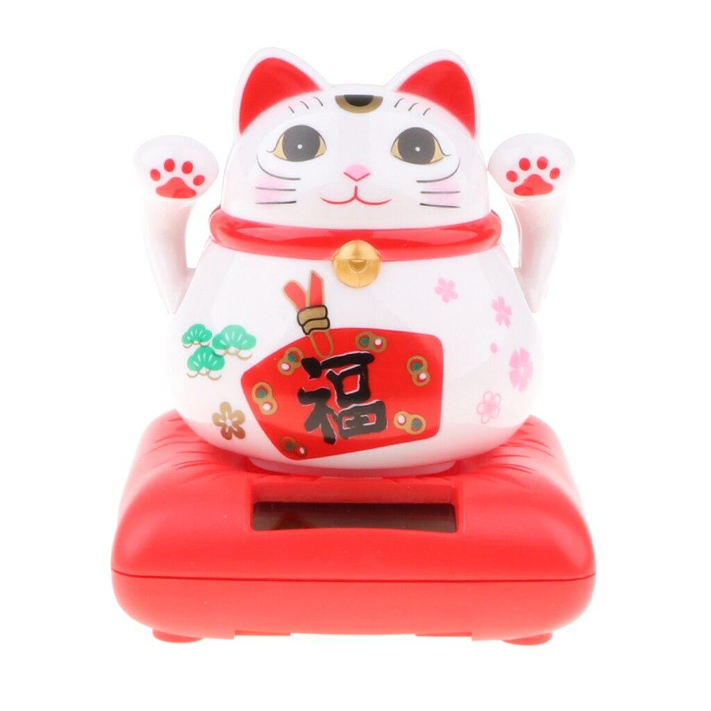 Китайский счастливый котенок на солнечной батарее, машущий маханием Кот удачи, игрушечный автомобильный Декор