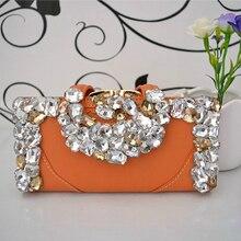 Crystal Wallet Women Clutch Bags Luxury Handbags Card Holder Evening Bag Black Wedding Purse Cow Leather Purse Ladies Gift Bags