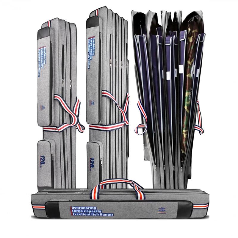 Bolsa de pesca de 2/3/4 capas, portador de caña de pescar Oxford, herramientas de caña de pescar 90/120/125cm, impermeable, caja de almacenamiento de aparejos de pesca, Organi