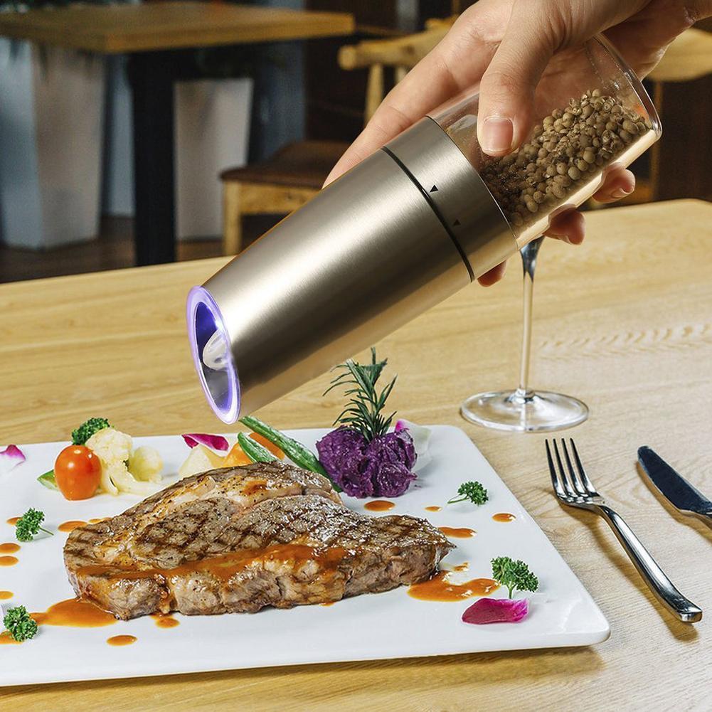 Molinillo de pimienta eléctrico de acero inoxidable con luz LED azul Control de gravedad Molino de sal condimentos agitador automático accesorio de cocina